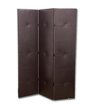 Ore International™ 3-Panel Black PU Leather Room Divider
