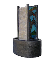 Ore International™ Small Stone Palm Tree Glass Fountain with Light