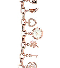 Anne Klein® Women's Crystal Charm Bracelet Watch