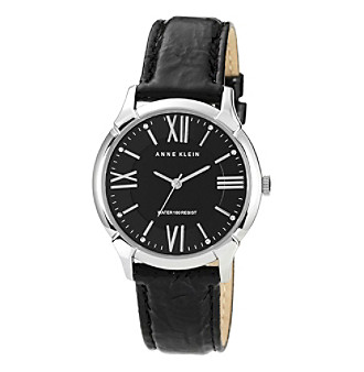 Anne Klein® Women's Patent Leather Strap Watch - Black