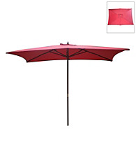 International Concepts Rectangular Autumn Red Market Umbrella