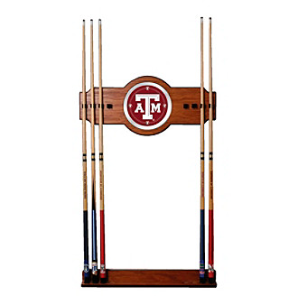 Trademark Games™ Texas A&M University 2 piece Wood and Mirror Wall Cue Rack
