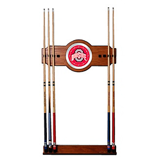 <strong>Web exclusive!</strong> Show your dedication to your alma mater with this officially licensed NCAA wood/mirror cue rack and impress your fellow Ohio State University alumni.