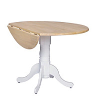 International Concepts Round Two-Tone Wood Dual Drop Leaf Table