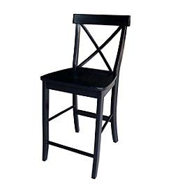 "International Concepts X-back 24"" Counter Height Wood Stool"