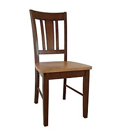 International Concepts Set of 2 San Remo Splatback Wood Dining Chairs