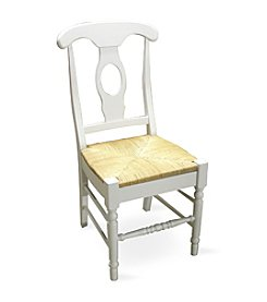 International Concepts Set of 2 White Empire Dining Chairs With Rush Seat