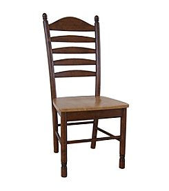 International Concepts Set of 2 Tall Ladderback Wood Dining Chairs