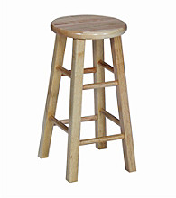 International Concepts Round Top Wood Stool