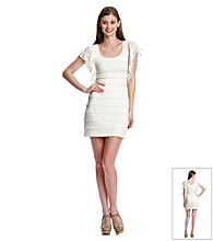 Guess Metallic Ruffle Lace Sheath Dress