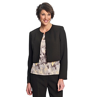 Kasper® Black Crepe Jewelneck Cropped Bolero Jacket