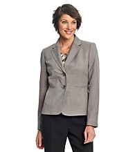 Kasper® Gray Two-Button Melange Notch Collar Jacket