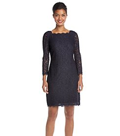 Adrianna Papell® Navy Lace Sleeve with Exposed Back Dress
