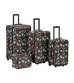 Rockland 4-pc. Brown Leaf Luggage Set