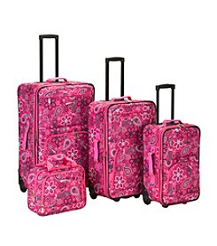 Rockland 4-pc. Pink Bandana Luggage Set