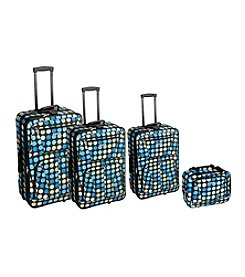 Rockland 4-pc. Multi Blue Dot Luggage Set