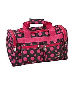 "Rockland 19"" Black and Pink Dot Tote Bag"