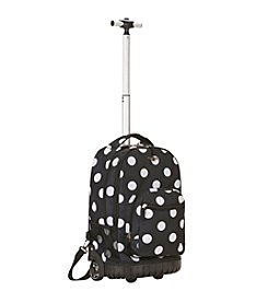 "Rockland 19"" Black Dot Rolling Backpack"