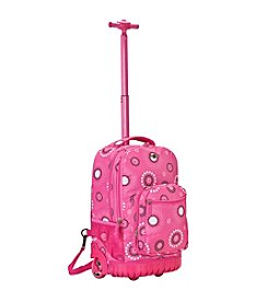 "Rockland 19"" Pink Pearl Rolling Backpack"