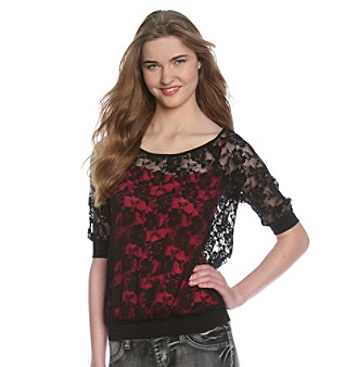 Eyeshadow® Juniors' Allover Lace Dolman Banded Bottom Top
