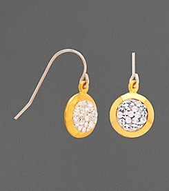14K Gold and Sterling Silver Crystal Drop Earrings