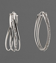 Sterling Silver and Crystal Twisted Hoop Earrings