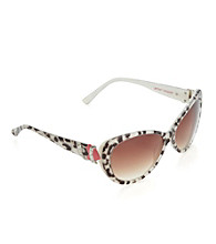 Betsey Johnson® Cat Eye Heart Temple Sunglasses - Leopard Animal