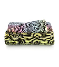 LivingQuarters Kids' Rainbow Zebra Micro Cozy Throw