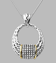 14K Yellow Gold and Sterling Silver Pendant with .22 ct. t.w. Diamond