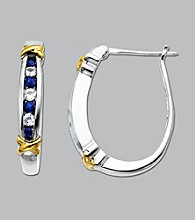 Blue and White Sapphire Hoop Earrings