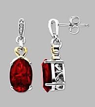 14K Yellow Gold and Sterling Silver Earrings with Created Rubies