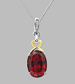 14K Yellow Gold and Sterling Silver Pendant with Created Ruby