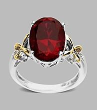 14K Yellow Gold and Sterling Silver Ring with a Created Ruby