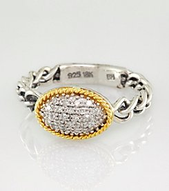 Effy® Sterling Silver and 18K Yellow Gold Ring with .11 ct. t.w. Diamond
