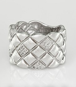 Effy® Quilted Sterling Silver Wide Ring with .18 ct. t.w. Diamond