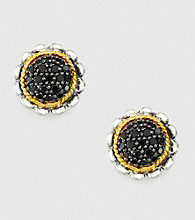Effy® Sterling Silver and 18K Yellow Gold Floral Earrings with .28 ct. t.w. Diamond