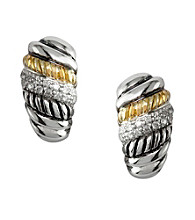 Effy® .21 ct. t.w. Diamond Sterling Silver and 18K Gold Twist Earrings