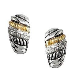 Effy® .21 ct. t.w. Diamond Sterling Silver and 18K Gold Twist Earrings