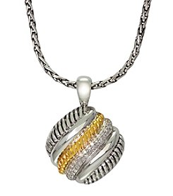 Effy® .26 ct. t.w. Diamond Sterling Silver and 18K Gold Twist Pendant