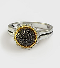 Effy® Sterling Silver and 18K Yellow Gold Floral Ring with .19 ct. t.w. Diamond