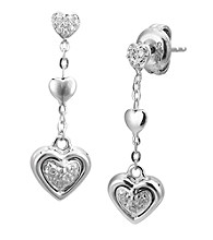 Precious Moments® .05 ct. t.w. Diamond and Sterling Silver Heart Drop Earrings