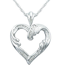 Precious Moments® .13 ct. t.w. Diamond and Sterling Silver Open Heart Pendant