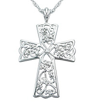 Precious Moments® .04 ct. t.w. Diamond and Sterling Silver Filigree Cross Pendant
