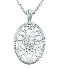 Precious Moments® .10 ct. t.w. Diamond and Sterling Silver Filigree Heart Pendant