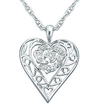 Precious Moments® .10 ct. t.w. Diamond and Sterling Silver Open Filigree Heart Pendant