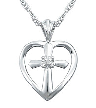 Precious Moments® .005 ct. t.w. Diamond and Sterling Silver Heart Cross Pendant