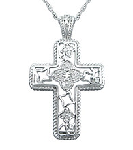 Precious Moments® .15 ct. t.w. Diamond and Sterling Silver Milgrain Cross Pendant