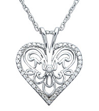 Precious Moments® .10 ct. t.w. Diamond and Sterling Silver Heart Pendant