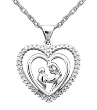 Precious Moments® .10 ct. t.w. Diamond and Sterling Silver Mother and Child Heart Pendant