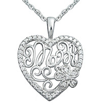 Precious Moments® .10 ct. t.w. Diamond and Sterling Silver Mom Heart Pendant